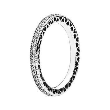 Women's PANDORA 'Hearts of PANDORA' Band Ring - Silver/ Clear