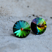 Rainbow Earrings - Swarovski Crystal Rainbow Stud Earrings - Super Sparklers - Jewelry by Mashugana