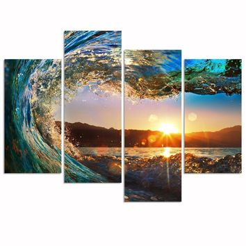 Sunset Wave Ocean Surf 4-Panel Wall Art Picture Print on Canvas