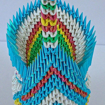 3D Origami Swan, 3D Origami Animals, paper swan, multicolored swan