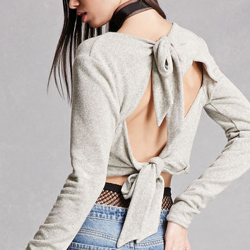Tie-Back Cropped Sweater