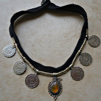 FREE Shipping Afghan Kuchi Necklace- Gypsy Jewelry- Tribal ethnic necklace- Afghan Jewelry- Necklace- Coin Necklace-  Afghan necklace