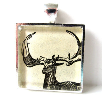 Vintage Dictionary Illustration Pendant of Deer Skeleton, in Glass Tile Square