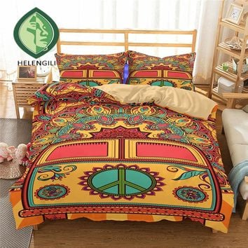 HELENGILI 3D Bedding Set Hippie Print Duvet cover set lifelike bedclothes with pillowcase bed set home Textiles #2-02
