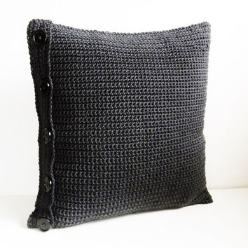 Crochet Pillow Cover, Pillow Case, Black Dark Gray Pillow, Reversible Pillow, Gun Metal Gray, Grey Pillow