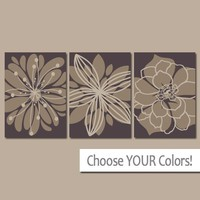 Brown Flower Wall Art, Canvas or Prints, Brown Floral Bathroom Decor, Brown Floral Bedroom Wall Decor, Set of 3, Home Decor, Living Room Art