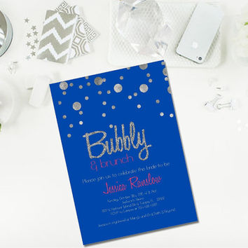 Champagne Brunch bridal shower Invitation/ Champagne Bridal Shower/ Royal blue, silver and hot pink invitation/ Bridal shower invitation