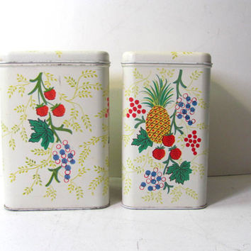 vintage set of CHEINCO kitchen canister tins with flowers