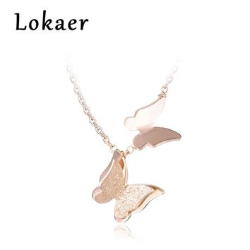 Lokaer Trendy Titanium Steel Double Flying Butterfly Pendant Necklace Simple Links Chains Necklace Jewlery For Women N170330433R