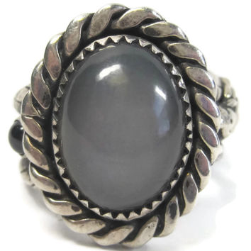 One of a Kind Gray Moonstone Garnet Mother Maiden Crone Ring Size 9
