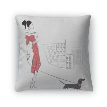 Throw Pillow, Girl Walking Her Dachshund