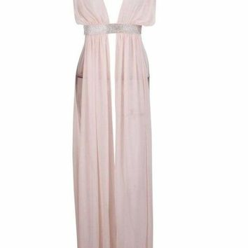 'DESTIE' Sheer Chiffon Swimsuit Cover Up (PINK)
