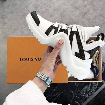 LV Louis Vuitton Trending Women Men Stylish Archlight Sneaker Shoe White/Black I-CSXY