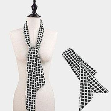 Checkerboard Skinny Scarf
