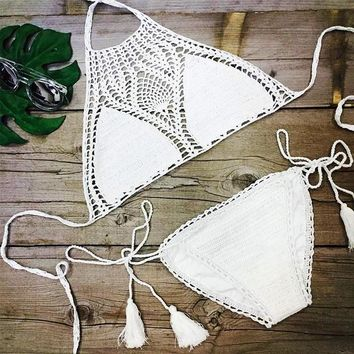 Crochet Bikini 2017 Top Sexy 100% Cotton Beach Swimwear Summer New Bikinis Set Women Swimsuit Solid Color Knitted Bathing Suit