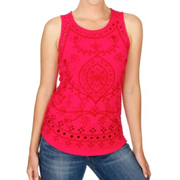 Lucky Brand Embroidered Eyelet Tank Pink Multi