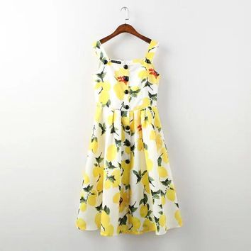 brand design women dresses 2016 new seller lemon print single breasted female slim dress flared party leisure lady dressLBCA8274