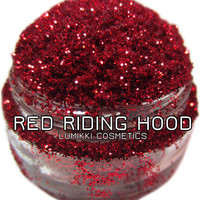 Red Riding Hood GLITTER 5 Gram Full Size Jar Bright Blood Red Gothic Red Vivid Red Halloween Magic Glitter Collection Lumikki Cosmetics