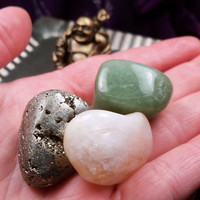 PROSPERITY STONES SET - Pyrite, Aventurine & Citrine Luck & Wealth Talisman Stones