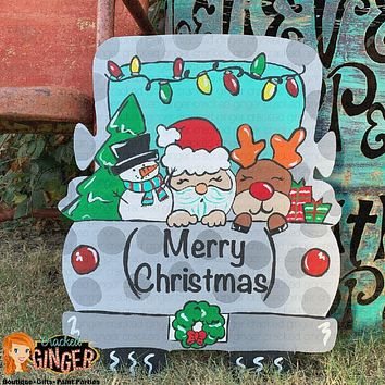 MERRY CHRISTMAS TRUCK BED OR PERSONALIZE WITH FAMILY NAME Wooden Door Hanger