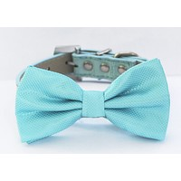 Blue Dog Bow Tie attached to collar, Pet wedding accessory, Beach wedding