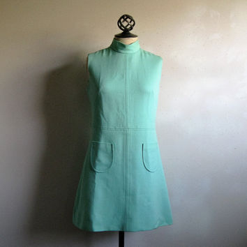 Vintage 1960s Mini Dress Mint 60s GoGo Wool J. Howard Above Knee Day Dress Small