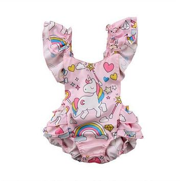 Toddler Baby Girls Ruffle Backless Unicorn Ruffles Romper Outfits Set Clothes Baby Clothing