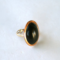Vintage 12K Gold Filled Adjustable Shank Ring with Large Oval Black Cabochon