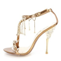 Bronze Rhinestone Dangle Strappy High Heels Faux Leather