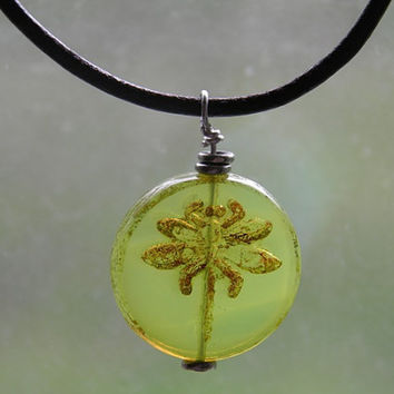 Light green dragonfly on brown leather choker necklace bohemian boho chic summer