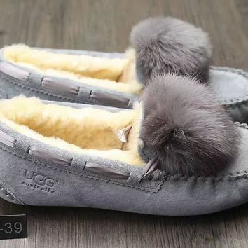 UGG W Dakota Pom Pom Women Simple Casual Slipper Tods Fashion Hairball Loafer Shoes Flats Shoes