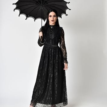 Victorian Style Black Lace Long Sleeve Maxi Dress