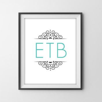 Personalized Monogram Art Print - Modern Girl's Bedroom Nursery Decor - Dorm Room Decor - Monogram Poster - Graduation Gift - Aqua & Gray