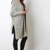 Furry Knit Longline Cardigan