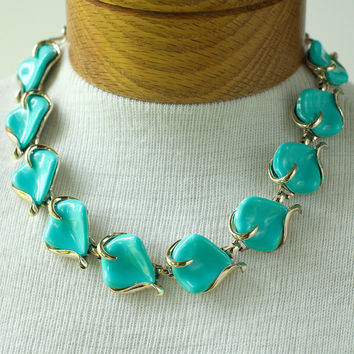 Blue Thermoplastic Necklace Vintage by My3Chicks on Etsy