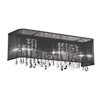Dainolite 4 Light Polished Chrome Vanity 26 Strands Clear Crystals with Rectangular Black Organza Shade