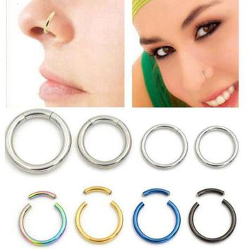 ac ICIKO2Q 18G 16G Nostril Unisex Lip Ear Helix Tragus Rings Real Nose Ring Cartilage Septum Segment Ring Hoop Body Piercing Jewelry