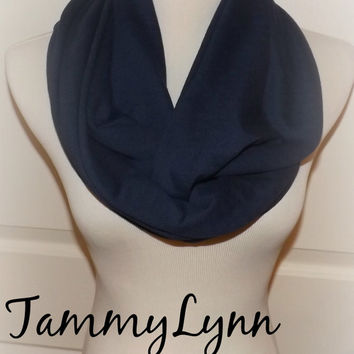 Navy Blue Solid Medium Weight LONG Cotton Blend Knit Infinity Scarf Cowl Women's Accessories
