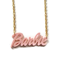 Barbie Necklace Pale Pink Laser Cut by KitschBitchJewellery