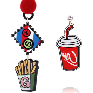 Multicolor Coke And French Fries Drop Earring Pack