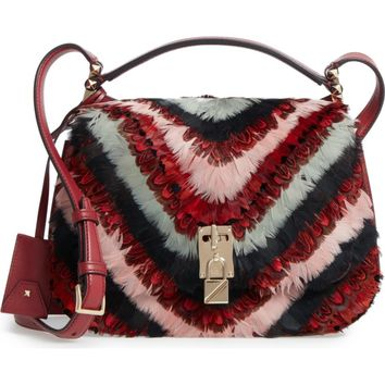VALENTINO GARAVANI Large Pieper Leather & Feather Saddle Bag | Nordstrom