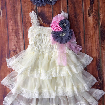 Rustic girl dress, pin, ivory, pink, gray, cream lace chiffon dress, flower girl, bridal wedding, shabby chic, vintage, ruffle, child