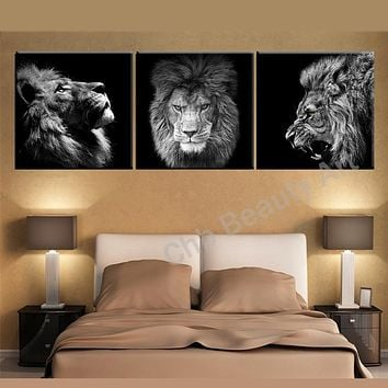 3 Panels Animals canvas art modern abstract painting wall pictures for living room decoration pictures canvas print no frame