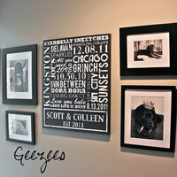 """Personalized Family Name Sign Typography """"ELITE"""" Series Word Art Personalized Typography Custom 24x36 - LISTING for 1 canvas art"""