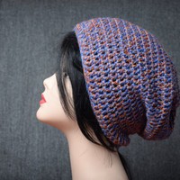 orange blue crocheted hat casual slouchy beanie womens crochet hat wool winter slouchy hat