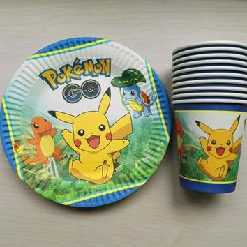 paper plates and cups kids birthday party set elsa and anna theme cartoon disposable decorations party supplies 20pcsKawaii Pokemon go  AT_89_9