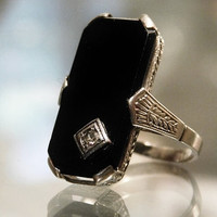 Art Deco Black Onyx Diamond Ring 14K White Gold Mourning Ring Antique Edwardian Dainty Filigree Ladies Pinky Ring Estate Heirloom Jewelry