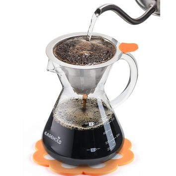 Hand Crafted Glass with Handle Pour over Coffee Maker with Stainless Steel Reusable Filter, 500ml