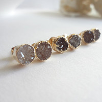 Tiny Round Druzy Earrings Druzy Stud Earrings Gold Plated Drusy Earrings Agate Druzy Stud Triangle Earrings