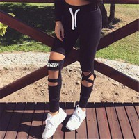 workout Legging fitness Legging Hole clothes for women female Breathable clothing black mesh hollow out track sweatpants